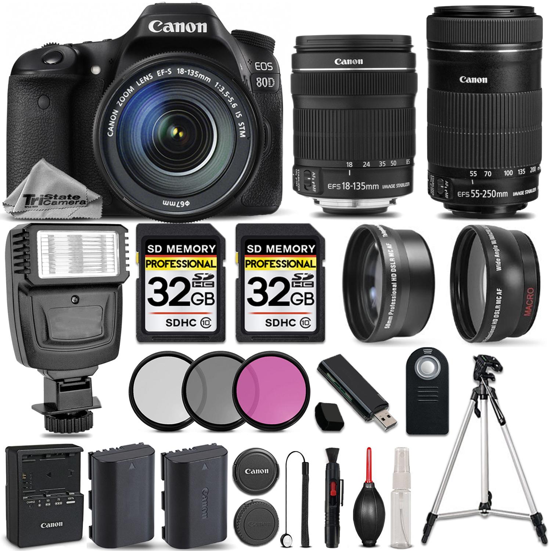 EOS 80D DSLR Camera + 18-135mm IS STM Lens + 55-250 STM LENS -SAVE BIG KIT *FREE SHIPPING*