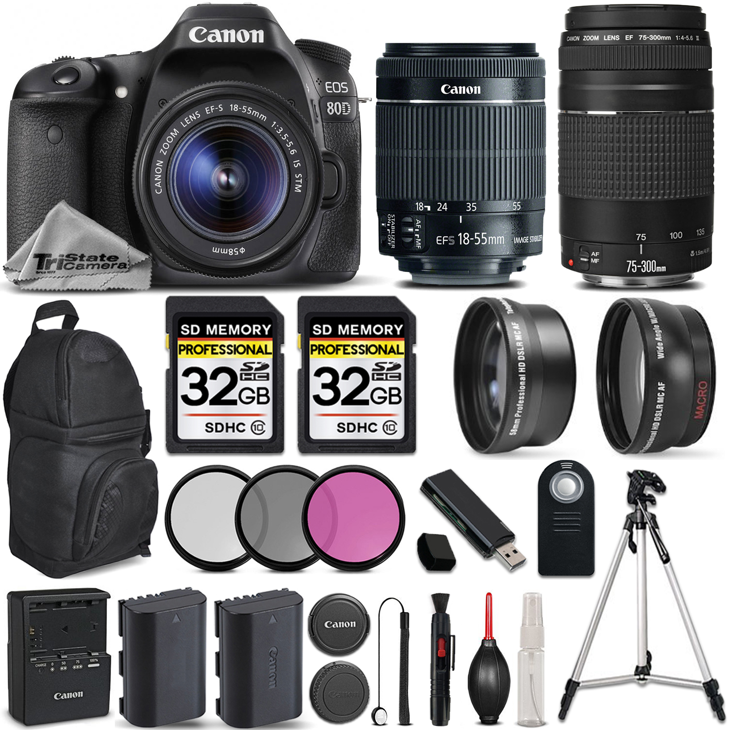 EOS 80D DSLR Camera with Canon EF-S 18-55mm IS STM Lens +Canon 75-300 III *FREE SHIPPING*
