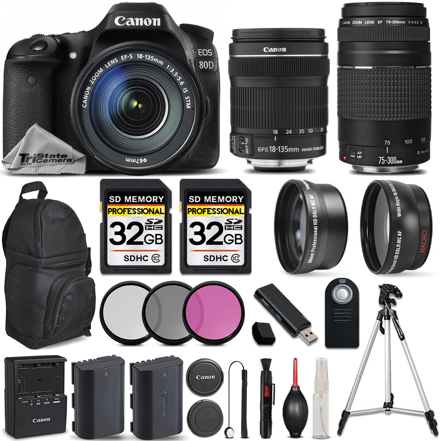 EOS 80D DSLR Camera with Canon 18-135mm IS STM Lens + Canon 75-300 III *FREE SHIPPING*