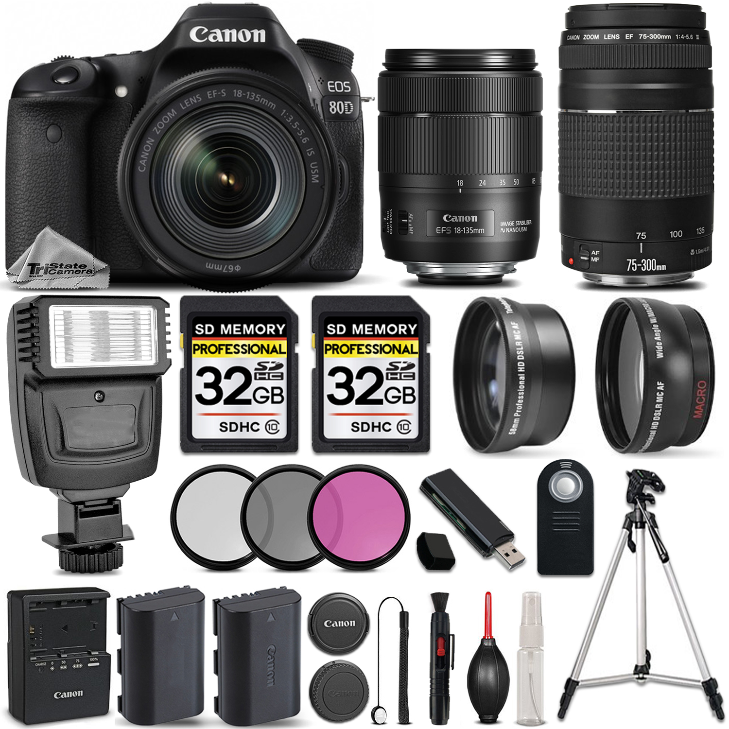 EOS 80D DSLR Camera with 18-135mm USM Lens + Canon 75-300 III - 64GB KIT *FREE SHIPPING*