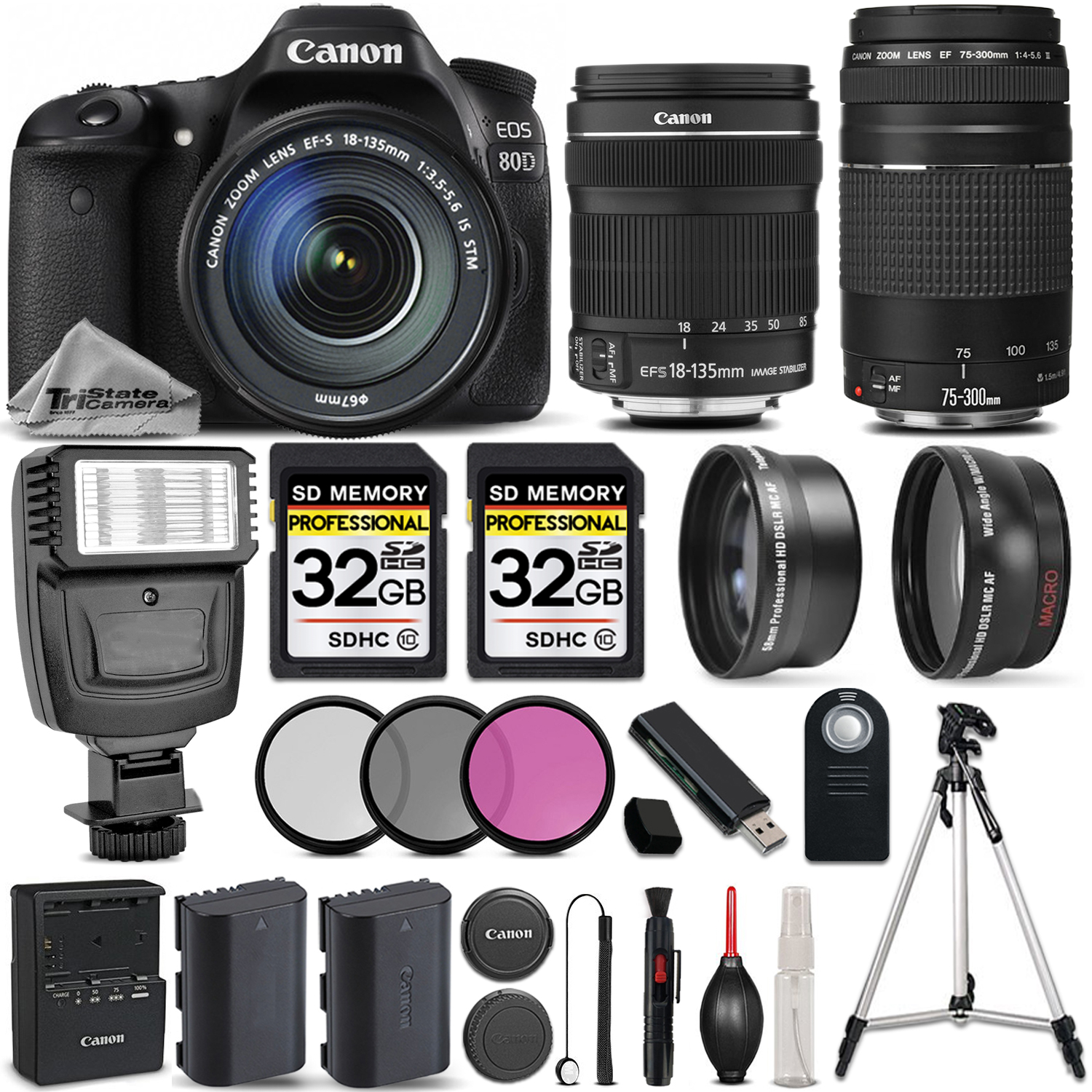 EOS 80D DSLR Camera with 18-135mm STM Lens + Canon 75-300 III - 64GB KIT *FREE SHIPPING*