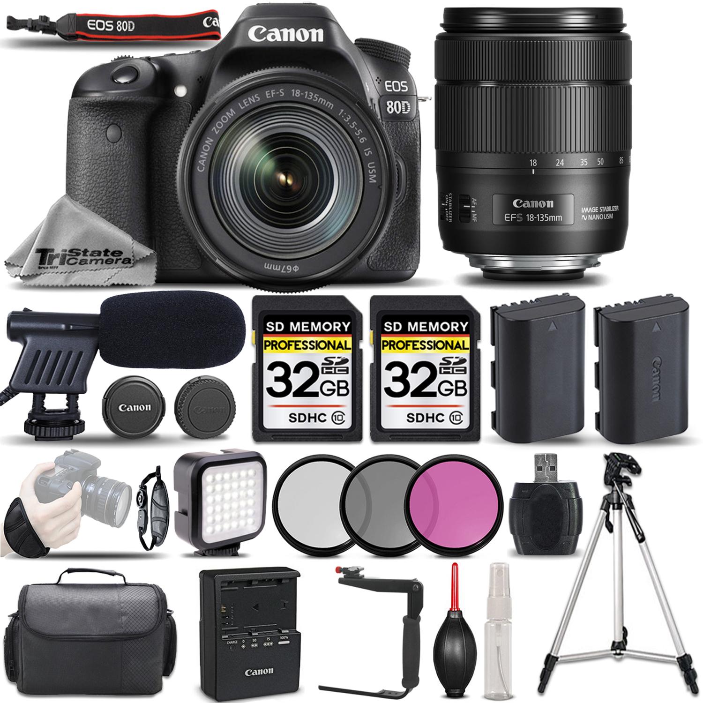 EOS 80D DSLR Camera + 18-135mm USM Lens +MIC +LED KIT +EXT BATT -64GB KIT *FREE SHIPPING*