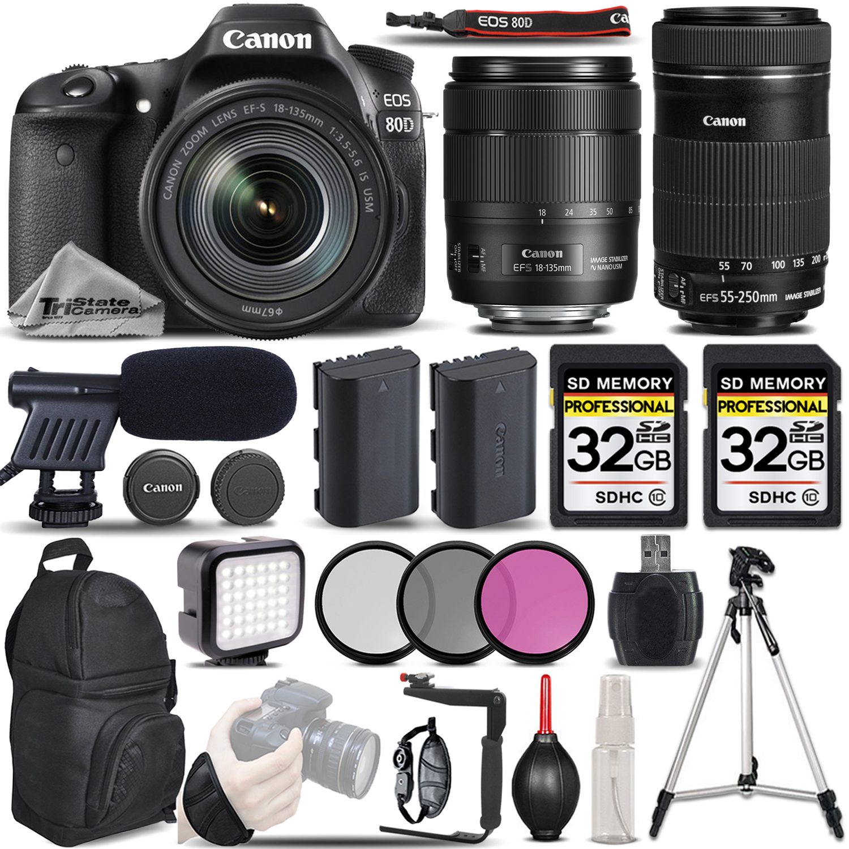 EOS 80D DSLR Camera + 18-135mm USM Lens + Canon 55-250 IS STM - VIDEO KIT *FREE SHIPPING*