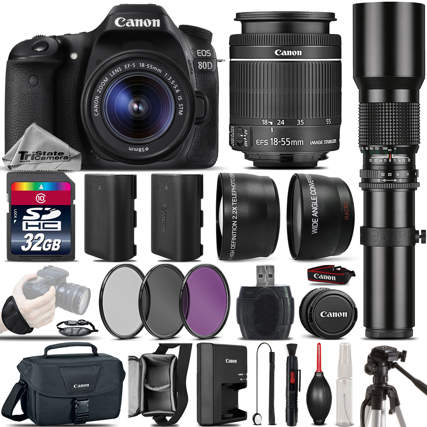 EOS 80D DSLR Camera + 18-55mm IS STM + 500mm Telephoto - Best Value Kit *FREE SHIPPING*