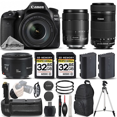 EOS 90D DSLR Camera with 18-135mm USM Lens + 55-250 IS STM + 50mm 1.8 II *FREE SHIPPING*