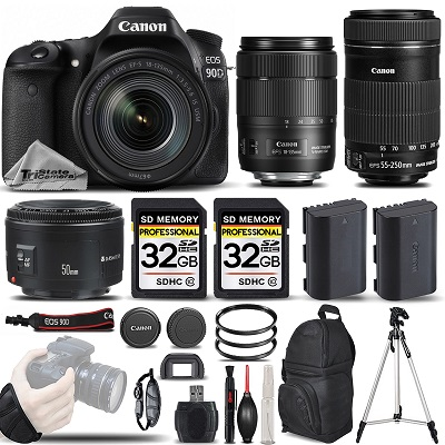 EOS 90D DSLR Camera + 18-135mm USM + 55-250 IS STM +50mm 1.8 II- SAVE BIG *FREE SHIPPING*
