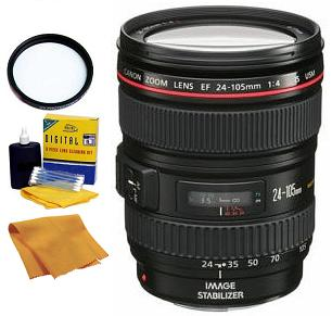 EF 24-105/4.0 L IS (Image Stabilized) USM  Wide Angle Telephoto Zoom Lens (77mm) • 77 UV Filter • Lens Cleaning Kit • Anti Static Cloth *FREE SHIPPING*