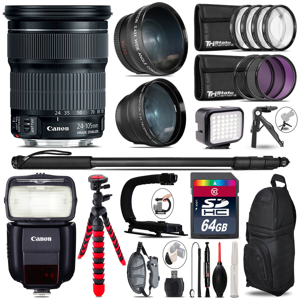 Canon 24-105mm IS STM + Speedlite 430EX III-RT - LED LIGHT - 64GB Accessory Kit *FREE SHIPPING*