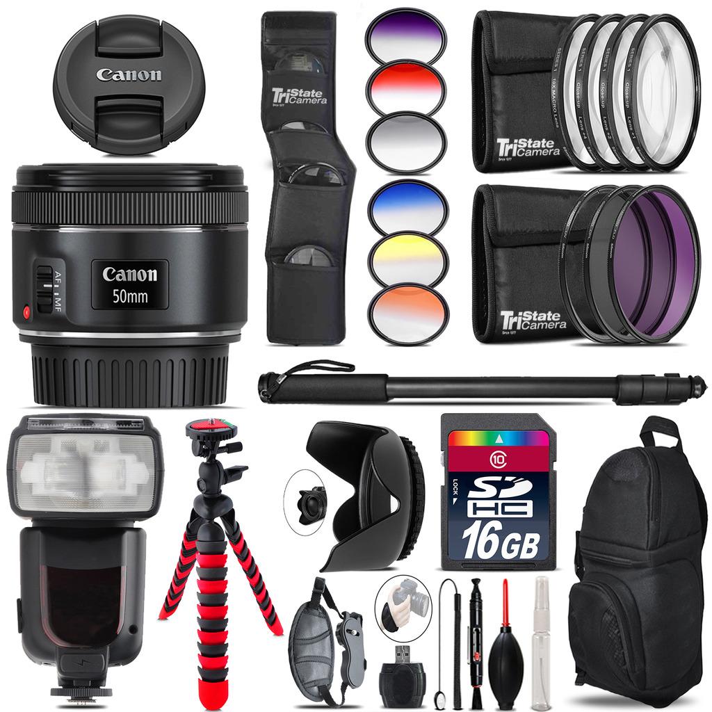 Canon EF 50mm f/1.8 STM Lens + Pro Flash + Filter Kit - 16GB Accessory Kit *FREE SHIPPING*