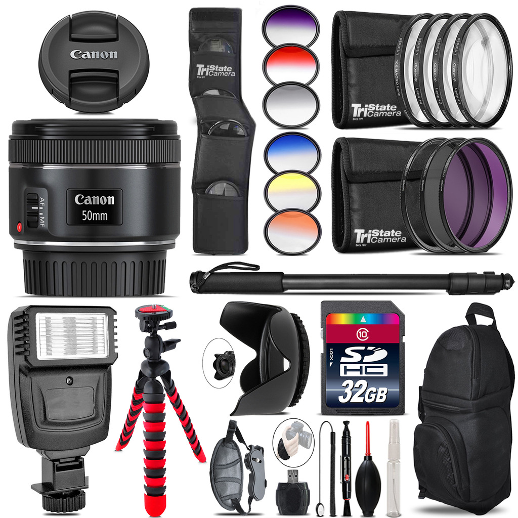 Canon EF 50mm f/1.8 STM Lens + Flash + Color Filter Set - 32GB Accessory Kit *FREE SHIPPING*