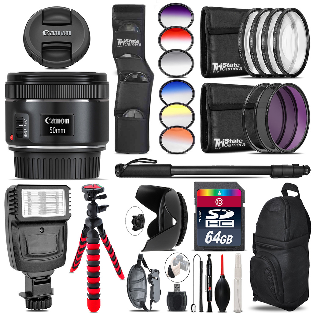 Canon EF 50mm f/1.8 STM Lens + Flash + Color Filter Set - 64GB Accessory Kit *FREE SHIPPING*