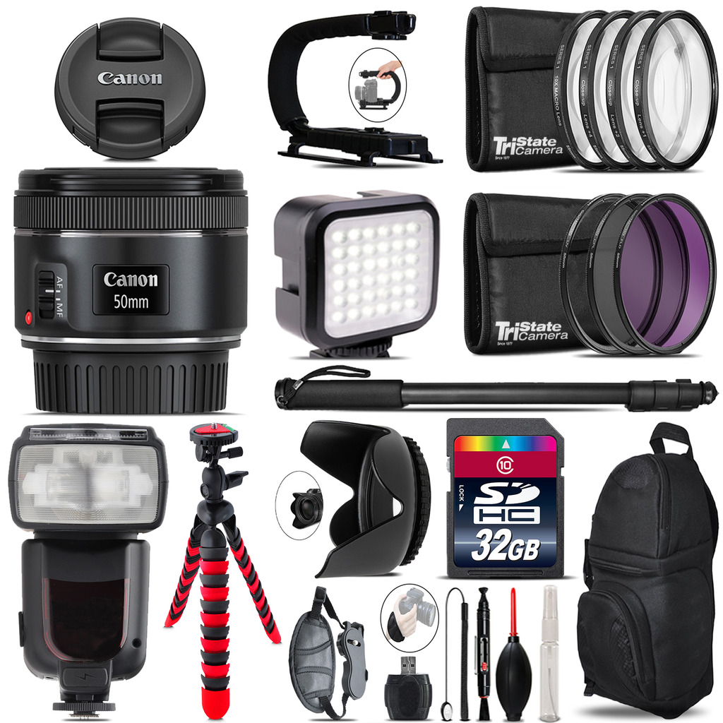 Canon EF 50mm f/1.8 STM Lens - Video Kit + Pro Flash - 32GB Accessory Bundle *FREE SHIPPING*