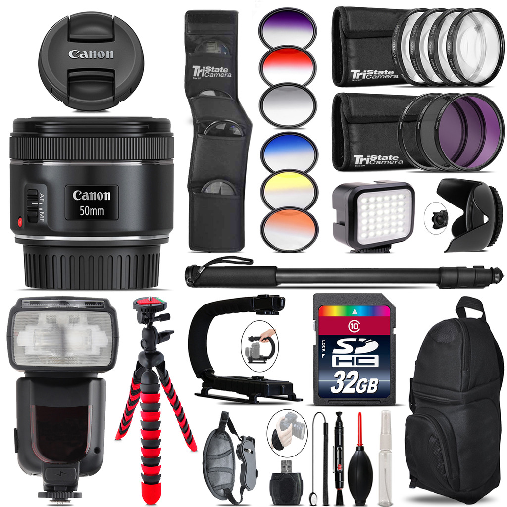 Canon EF 50mm f/1.8 STM Lens + Pro Flash + LED Light - 32GB Accessory Bundle *FREE SHIPPING*