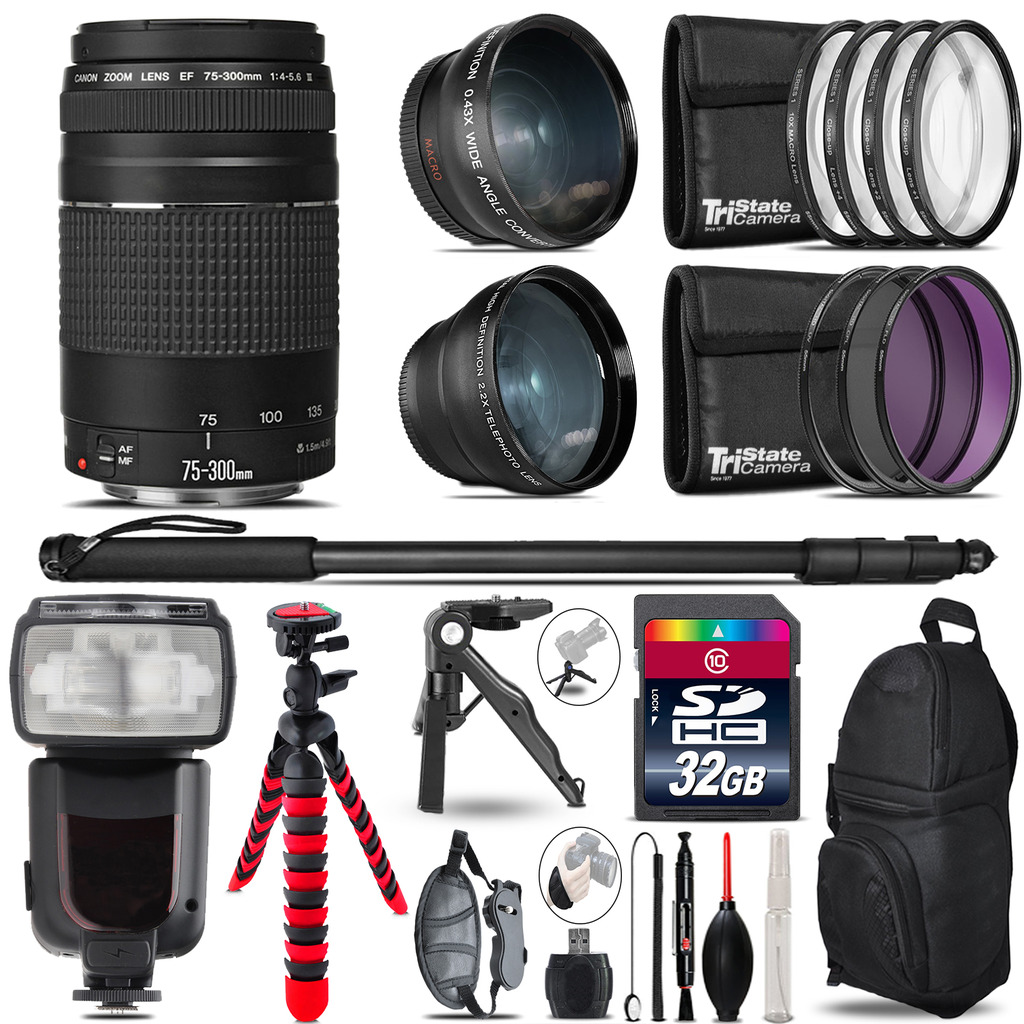 Canon EF 75-300 III - 3 Lens Kit + Professional Flash - 32GB Accessory Bundle *FREE SHIPPING*
