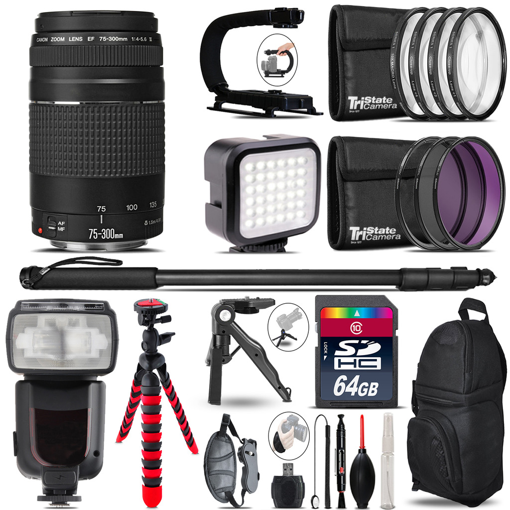 Canon EF 75-300 III - Video Kit + Pro Flash + Monopod - 64GB Accessory Bundle *FREE SHIPPING*