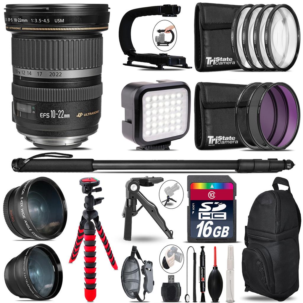 Canon EF-S 10-22mm USM -Video Kit + LED KIt + Monopod - 16GB Accessory Bundle *FREE SHIPPING*