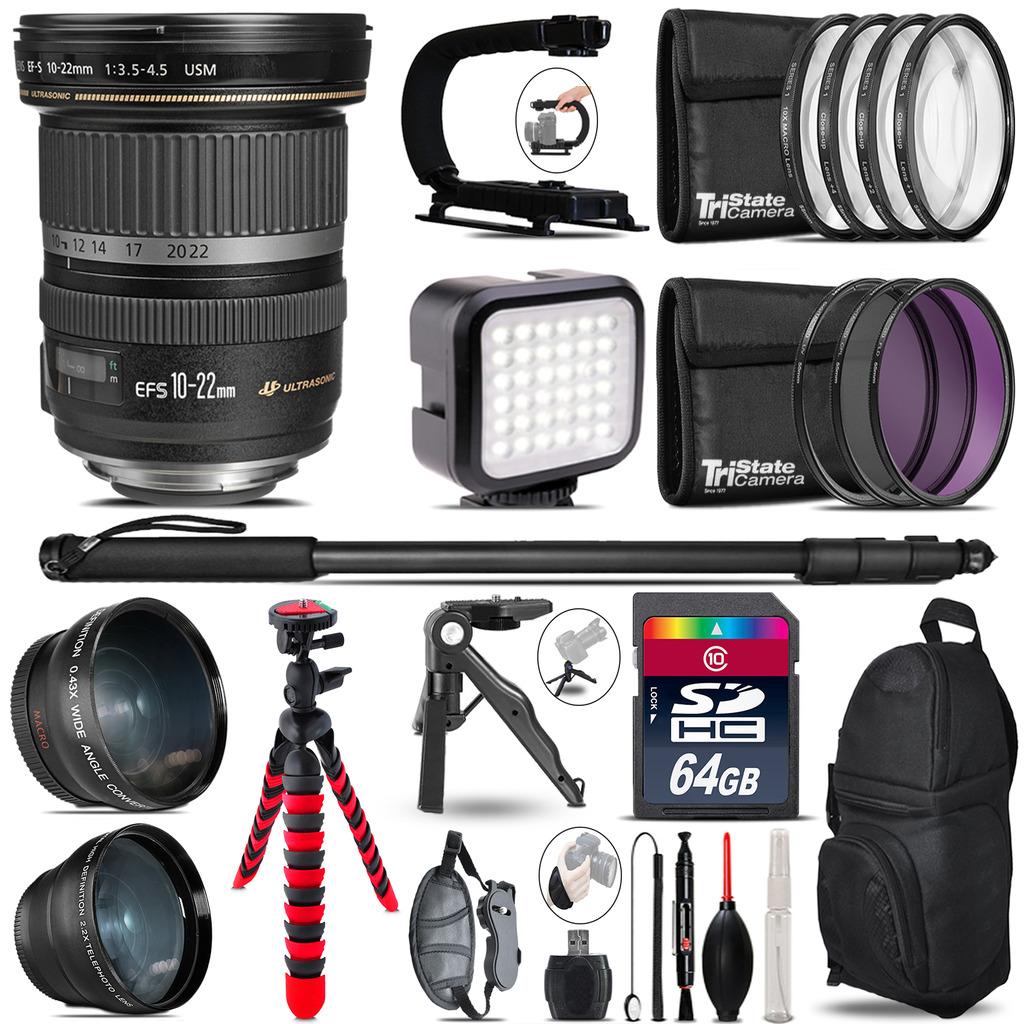Canon EF-S 10-22mm USM -Video Kit + LED KIt + Monopod - 64GB Accessory Bundle *FREE SHIPPING*