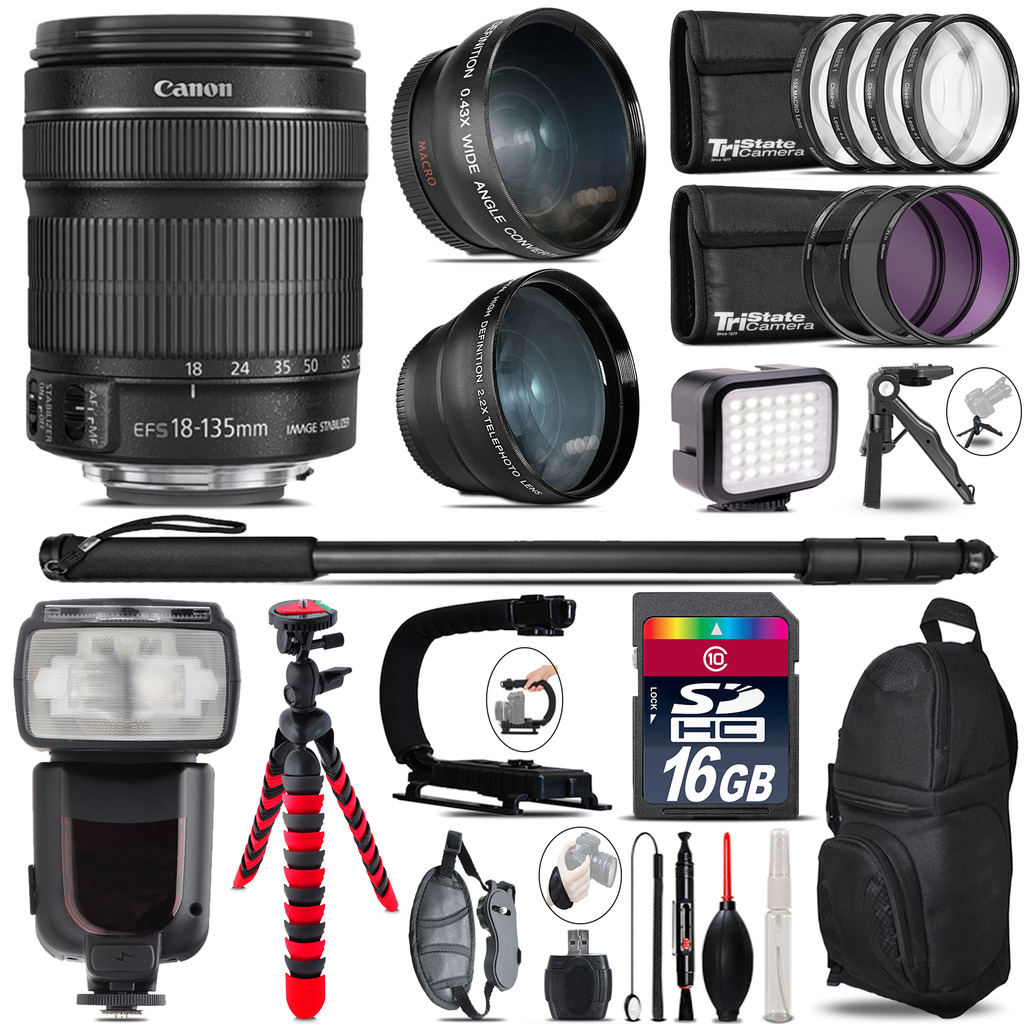 Canon 18-135mm IS STM + Pro Flash + LED Light + Tripod - 16GB Accessory Bundle *FREE SHIPPING*