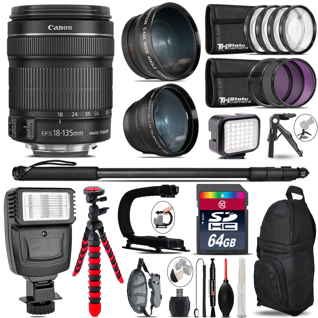 Canon 18-135mm IS STM + Slave Flash + LED Light + Tripod - 64GB Accessory Bundle *FREE SHIPPING*