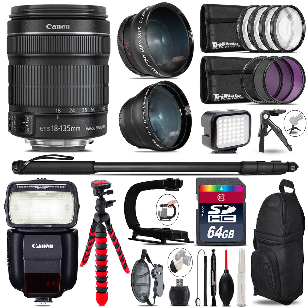 Canon 18-135mm IS STM + Speedlite 430EX III-RT - LED LIGHT - 64GB Accessory Kit *FREE SHIPPING*