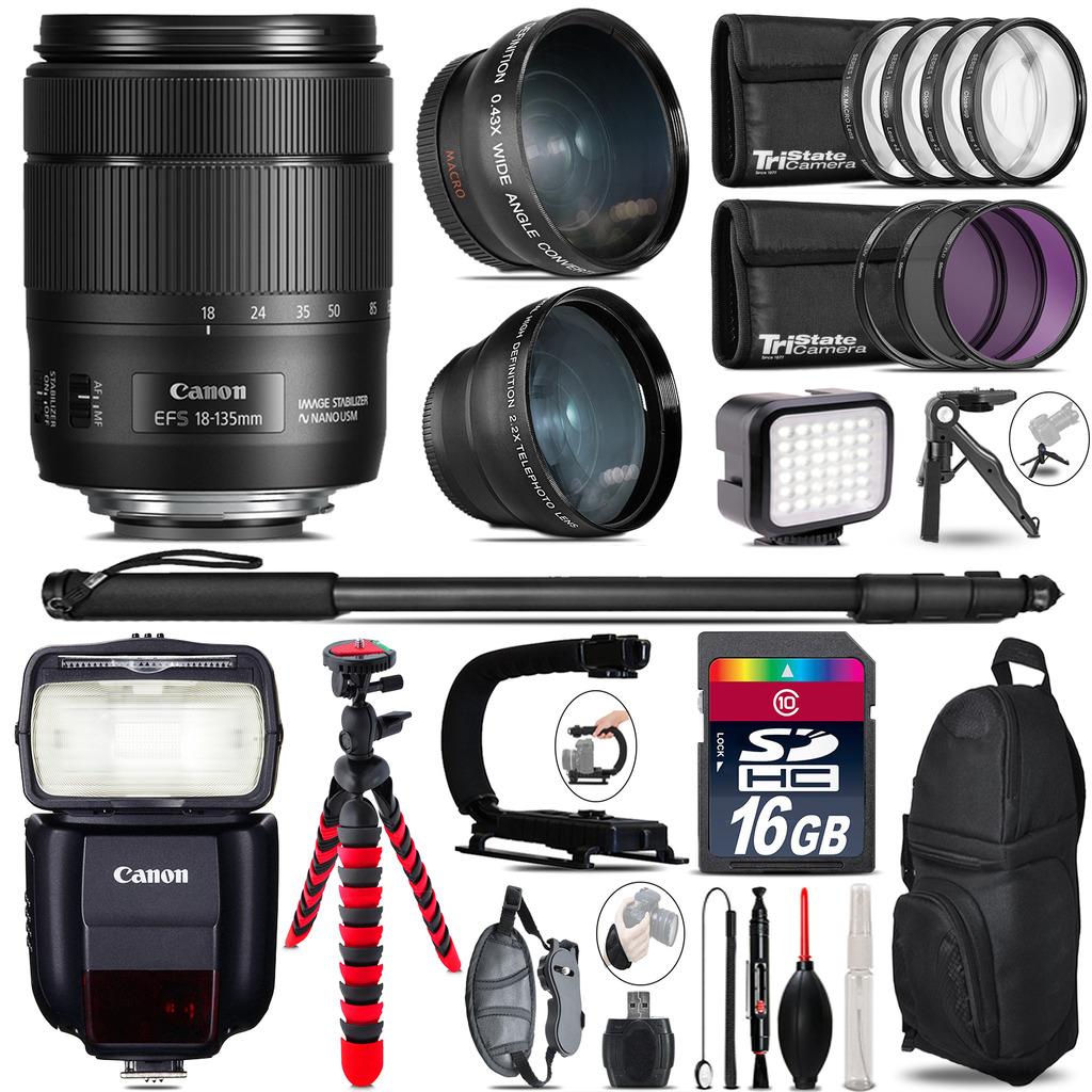 Canon 18-135mm IS USM + Speedlite 430EX III-RT - LED LIGHT - 16GB Accessory Kit *FREE SHIPPING*