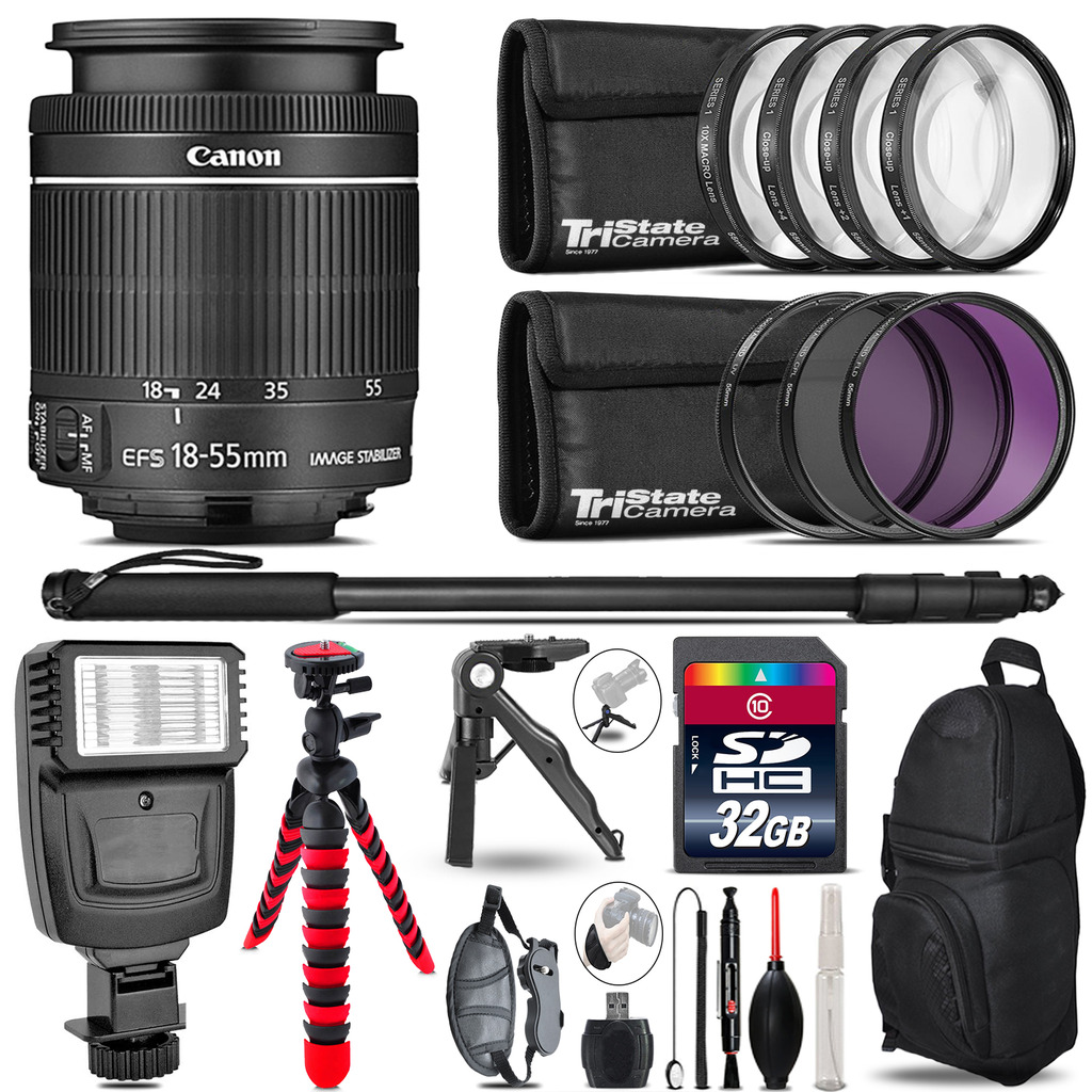 Canon 18-55mm IS STM + Slave Flash + MACRO, UV-CPL-FLD - 32GB Accessory Bundle *FREE SHIPPING*