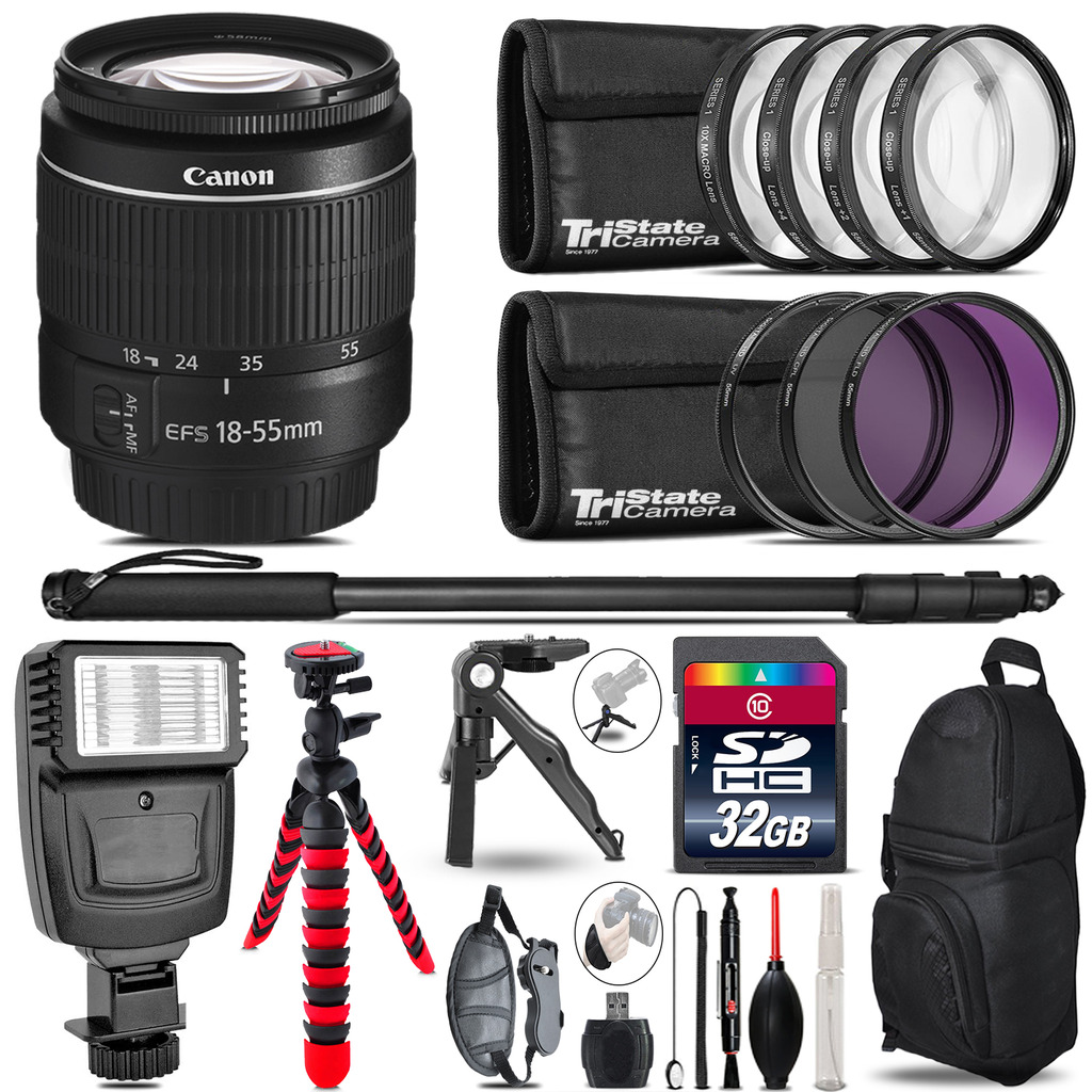 Canon EF-S 18-55mm III + Slave Flash + MACRO, UV-CPL-FLD - 32GB Accessory Bundle *FREE SHIPPING*