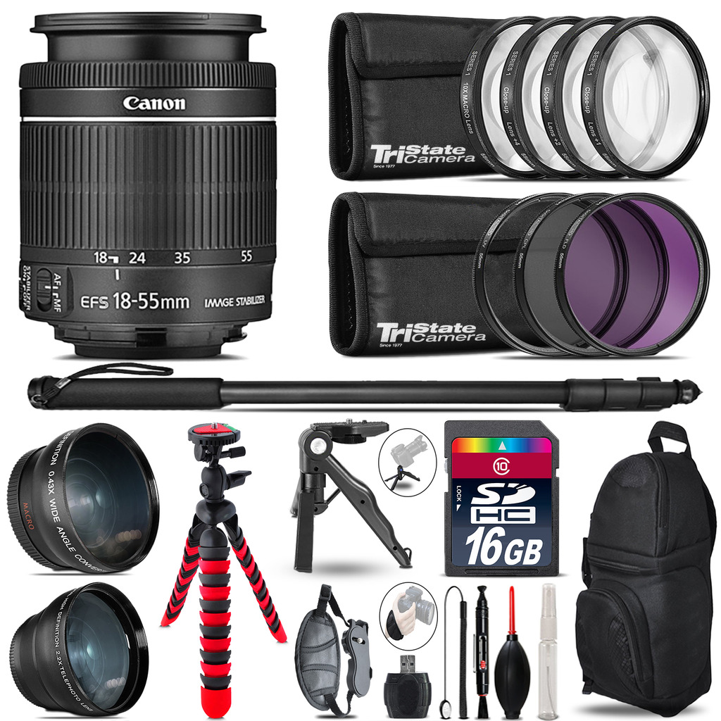 Canon 18-55mm IS STM - 3 Lens Kit + Tripod + Backpack - 16GB Accessory Bundle *FREE SHIPPING*
