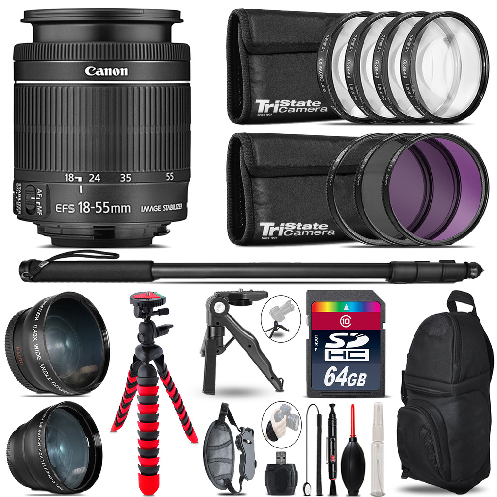 Canon 18-55mm IS STM - 3 Lens Kit + Tripod + Backpack - 64GB Accessory Bundle *FREE SHIPPING*