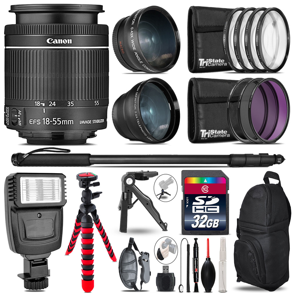 Canon 18-55mm IS STM - 3 Lens Kit + Slave Flash + Tripod - 32GB Accessory Bundle *FREE SHIPPING*