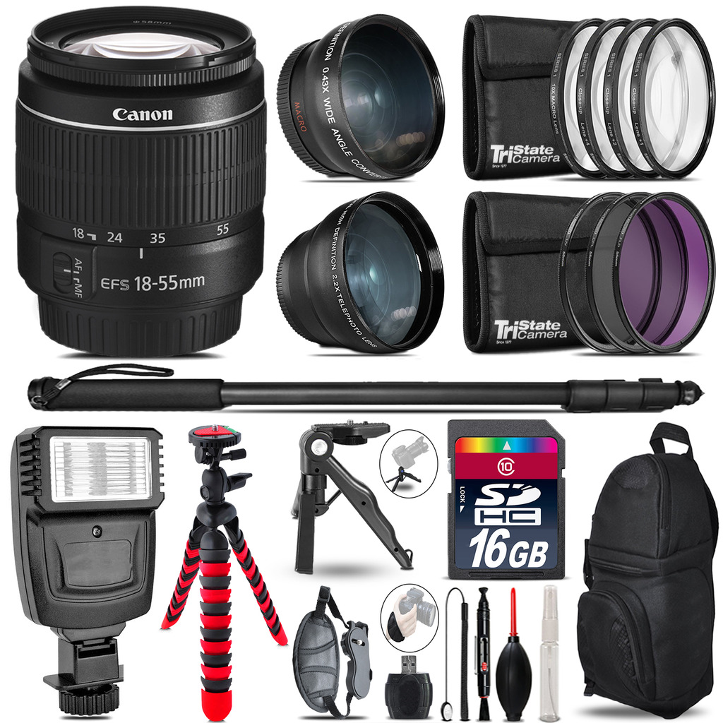 Canon EF-S 18-55mm III -3 Lens Kit + Slave Flash + Tripod - 16GB Accessory Bundle *FREE SHIPPING*