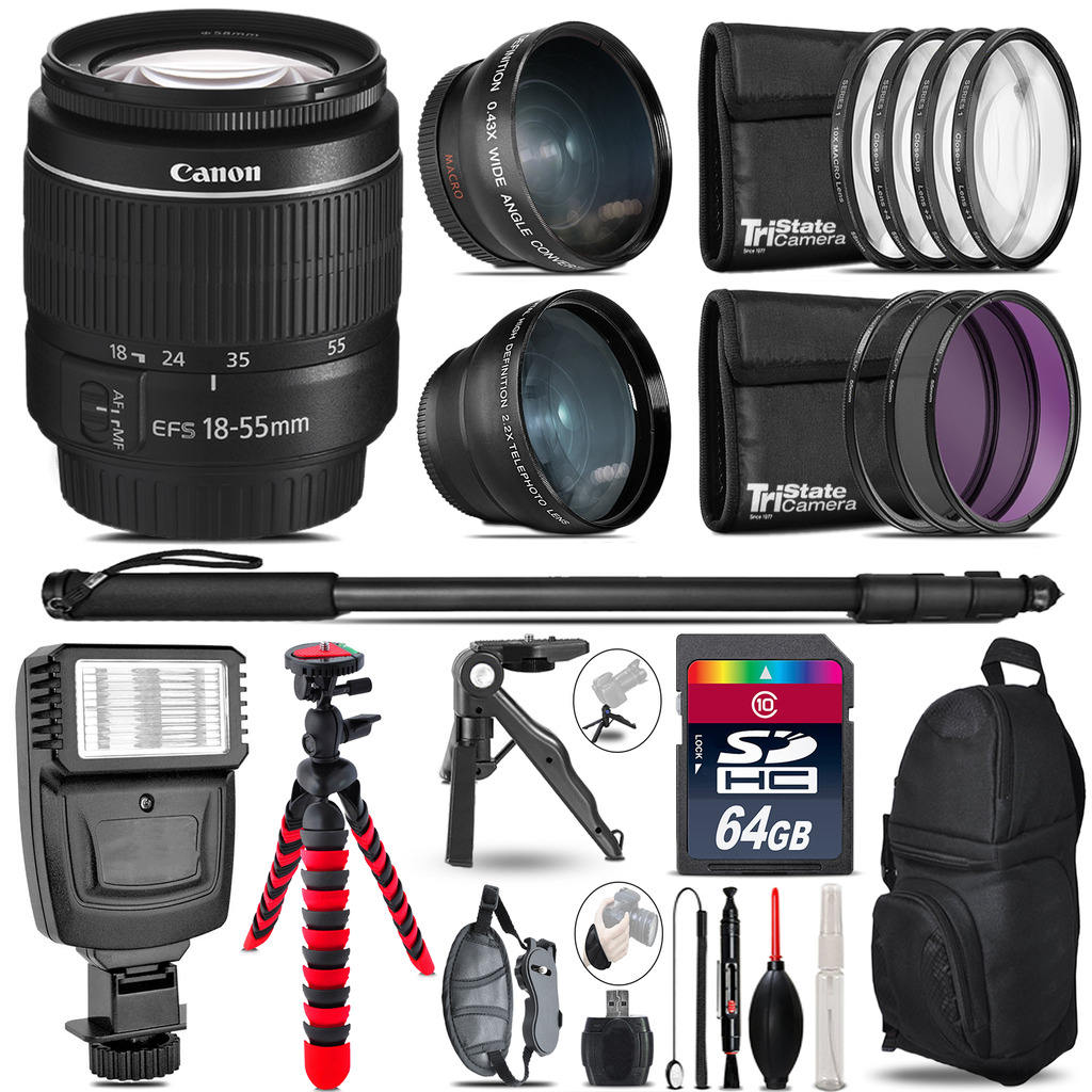 Canon EF-S 18-55mm III -3 Lens Kit + Slave Flash + Tripod - 64GB Accessory Bundle *FREE SHIPPING*