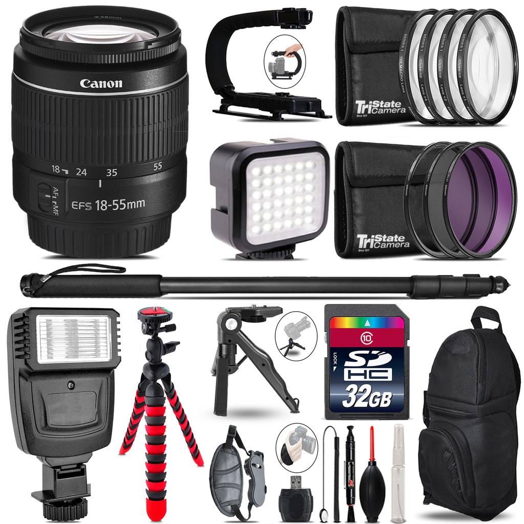 Canon EF-S 18-55mm III -Video Kit + Slave Flash + Monopod - 32GB Accessory Bundle *FREE SHIPPING*