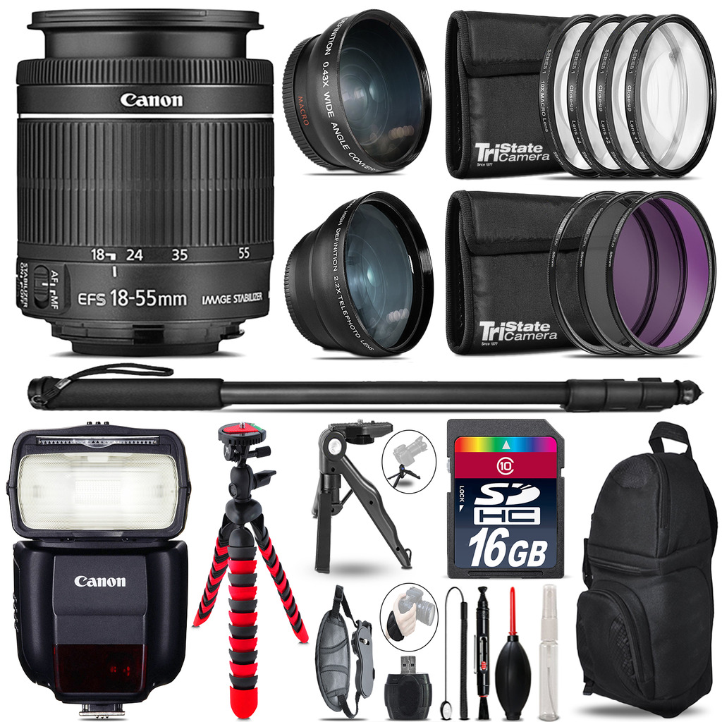 Canon 18-55mm IS STM + Speedlite 430EX III-RT - 3 Lens Kit - 16GB Accessory Kit *FREE SHIPPING*