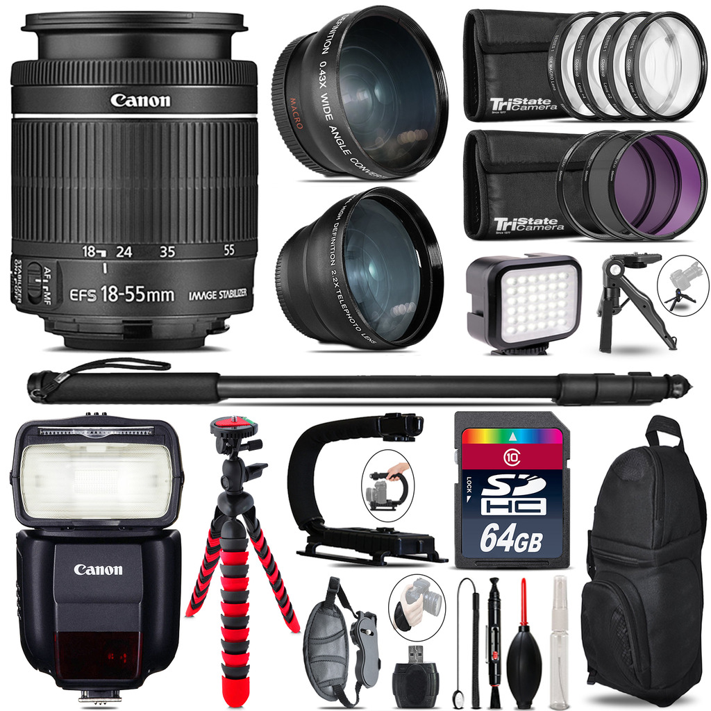 Canon 18-55mm IS STM + Speedlite 430EX III-RT - LED LIGHT - 64GB Accessory Kit *FREE SHIPPING*
