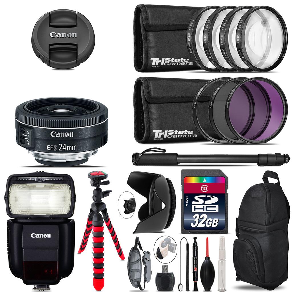Canon EF-S 24mm f/2.8 STM Lens + Speedlite 430EX III-RT  & More - 32GB Kit *FREE SHIPPING*