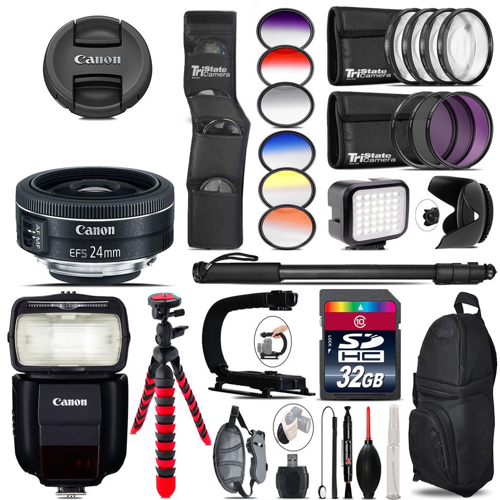 Canon EF-S 24mm f/2.8 STM Lens + Speedlite 430EX + LED - 32GB Accessory Kit *FREE SHIPPING*