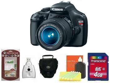 EOS Rebel T3 Digital SLR Camera Kit - Black • 4GB Memory Card• Camera/Lens Cleaning Kit• LCD Screen Protectors• Memory Card Reader• Deluxe SLR Carrying Case *FREE SHIPPING*