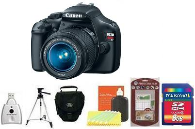EOS Rebel T3 Digital SLR Camera Kit - Black • 8GB Memory Card• Camera/Lens Cleaning Kit• LCD Screen Protectors• Memory Card Reader• Deluxe SLR Carrying Case• Davis and Sanford Traveler TriPod *FREE SHIPPING*