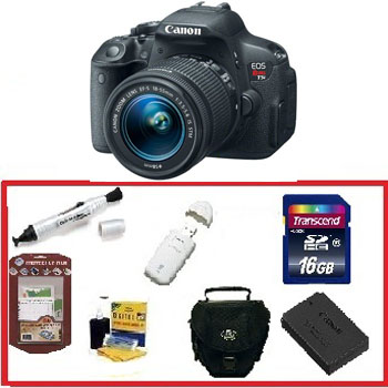 EOS Rebel T5i Digital SLR w/18-55mm STM Lens Kit • 16GB Memory Card• Camera/Lens Cleaning Kit• LCD Screen Protectors• Memory Card Reader• Deluxe SLR Carrying Case• Pen LCD Screen Cleaner• Replacement Battery *FREE SHIPPING*