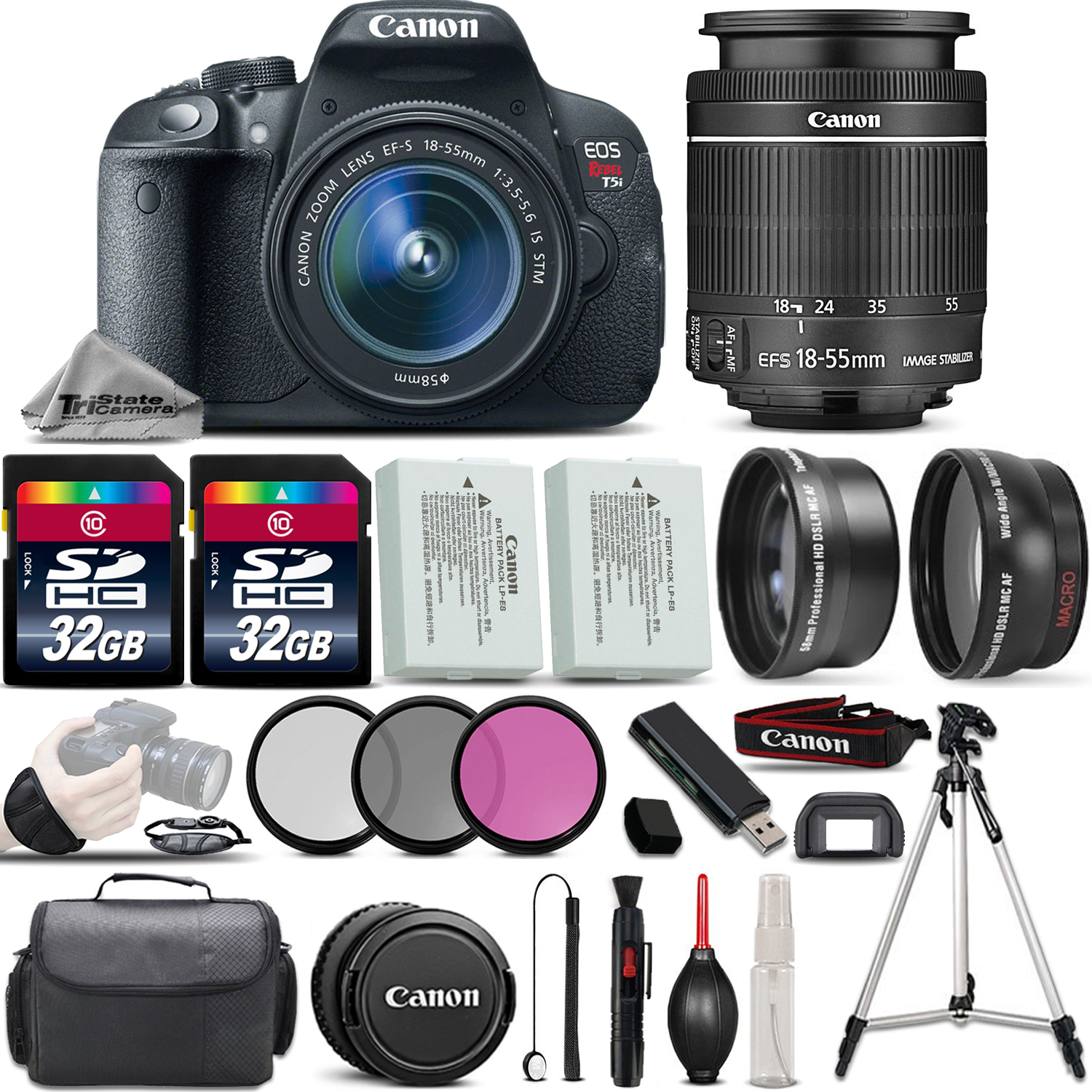 EOS Rebel T5i DSLR Camera Full HD 1080p + 18-55mm IS STM Lens + .43x Wide Angle Lens + 2.2X Telephoto Lens + 3PC Filter (UV-CPL-FLD) + 64GB Storage + Backup Battery - International Version *FREE SHIPPING*