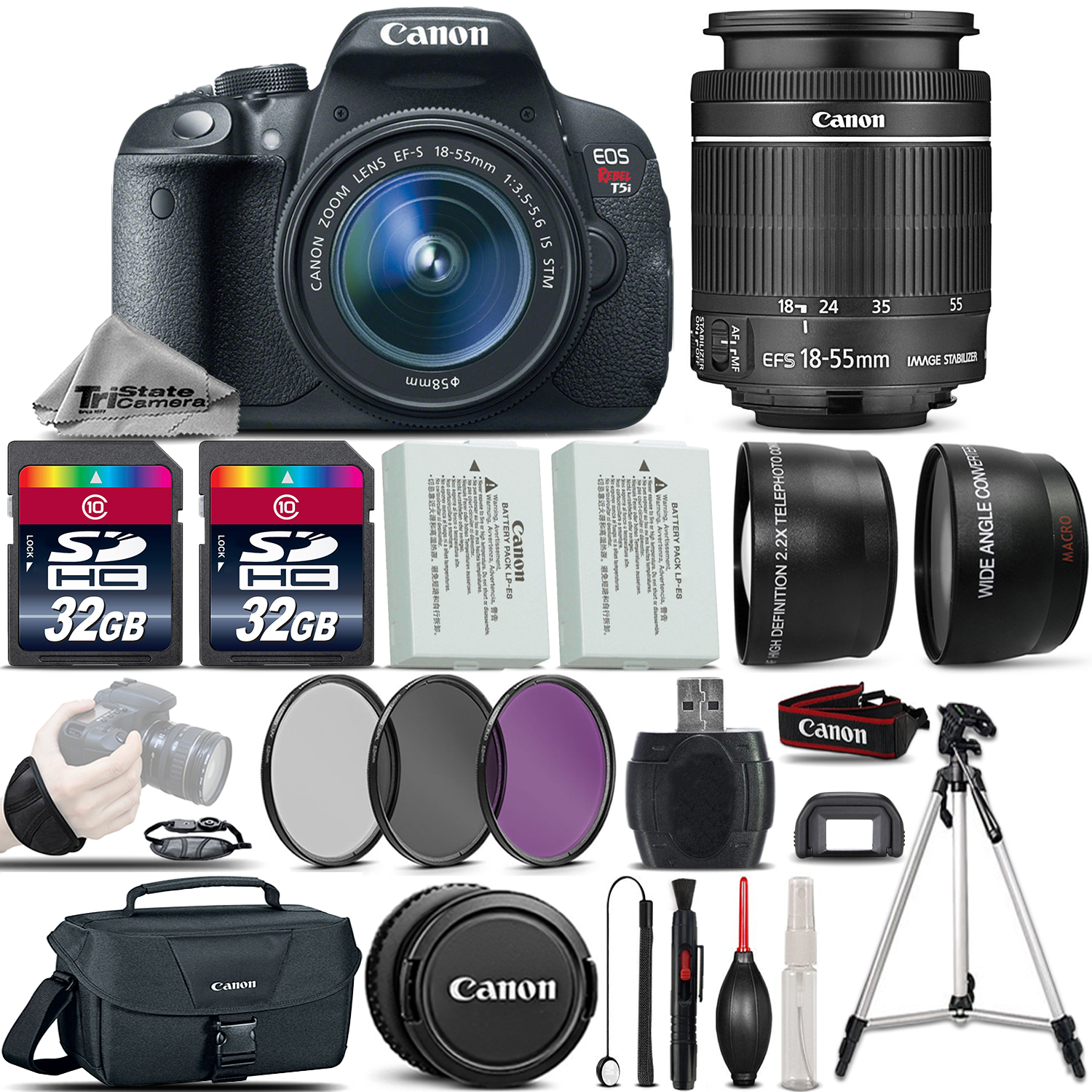 EOS Rebel T5i SLR Camera 700D + 18-55mm IS + EXT BAT + Canon Case + 64GB *FREE SHIPPING*