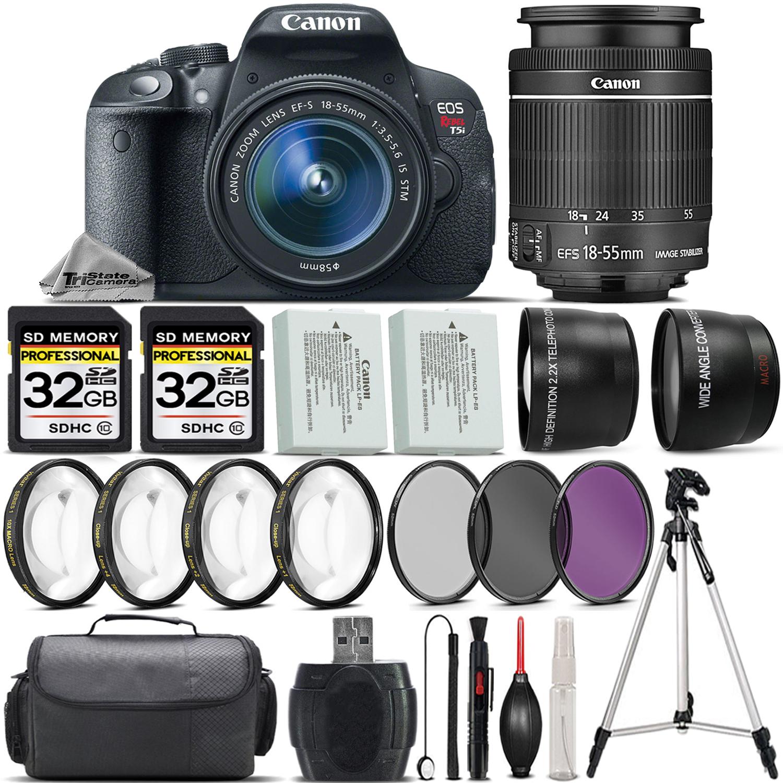 EOS Rebel T5i SLR Camera 700D + 18-55mm +EXT BAT +4PC Macro Kit + 64GB Kit *FREE SHIPPING*