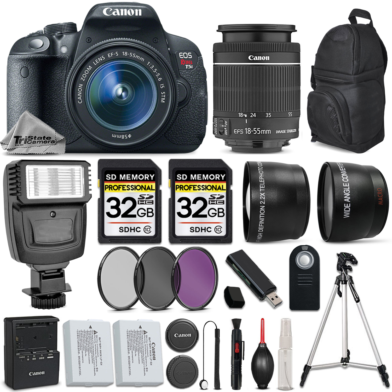 EOS Rebel T5i Camera 700D + 18-55mm IS + Flash + 64GB + EXT BATT & MORE! *FREE SHIPPING*