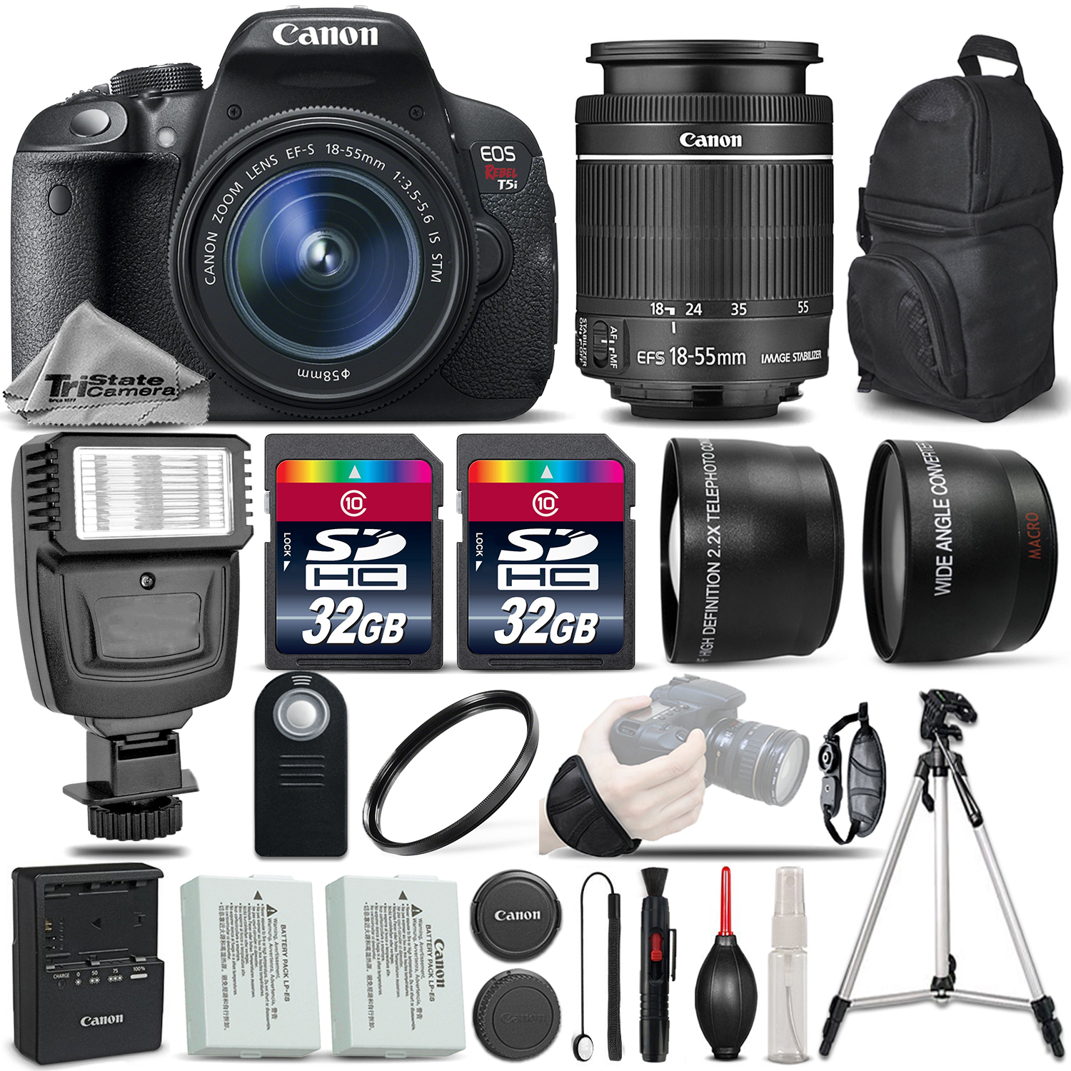 EOS Rebel T5i SLR Camera 700D + 18-55mm IS-3 Lens Kit + Flash+ 64GB &MORE *FREE SHIPPING*