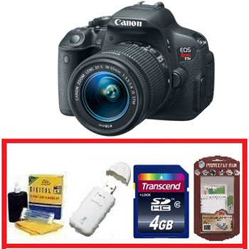 EOS Rebel T5i Digital SLR w/18-55mm STM Lens Kit • 4GB Memory Card• Camera/Lens Cleaning Kit• LCD Screen Protectors• Memory Card Reader *FREE SHIPPING*