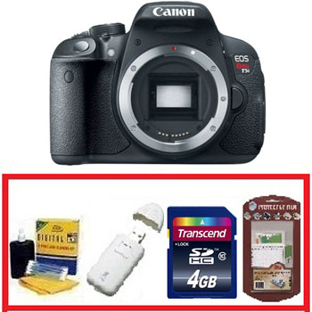 EOS Rebel T5i Digital SLR Camera Body Only - Black • 4GB Memory Card• Camera/Lens Cleaning Kit• LCD Screen Protectors• Memory Card Reader *FREE SHIPPING*
