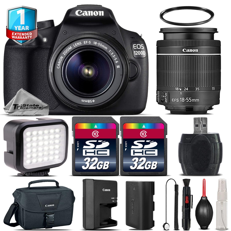 EOS Rebel 1200D DSLR Camera + 18-55mm + LED + 1yr Warranty - 64GB Bundle *FREE SHIPPING*