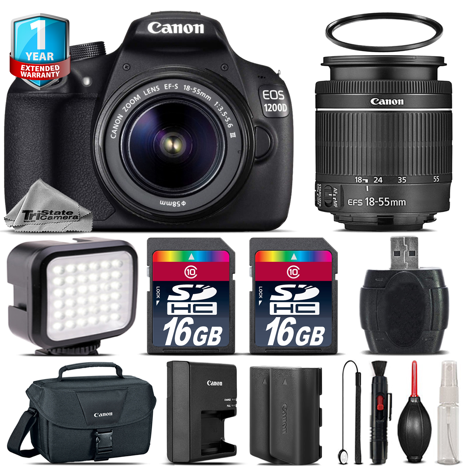 EOS Rebel 1200D Camera + 18-55mm III + LED + Extra Battery + 1yr Warranty *FREE SHIPPING*