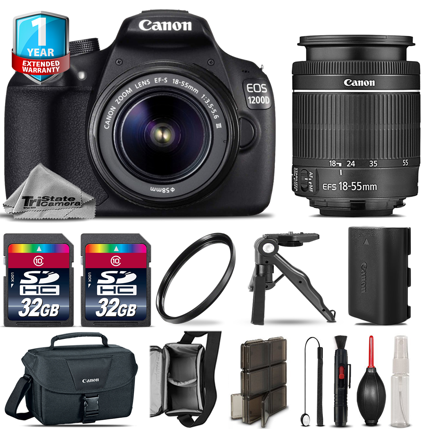 EOS Rebel 1200D Camera + 18-55mm DC + 1yr Warranty + Canon Case -64GB Kit *FREE SHIPPING*